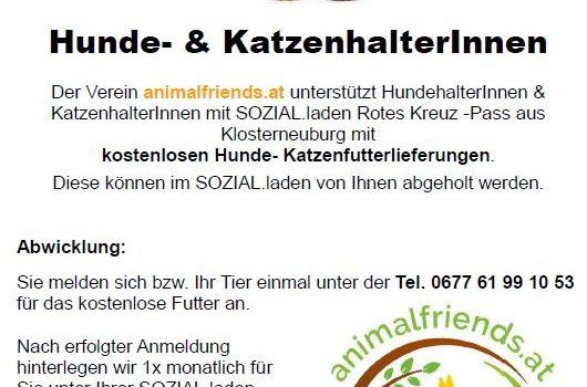 animalfriends.at hilft SoLa KundInnen mit Tierfutter!